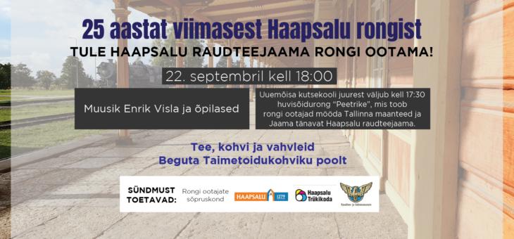 Teisipäeval möödub 25 aastat päevast kui Haapsalu raudteejaama saabus viimane reisirong